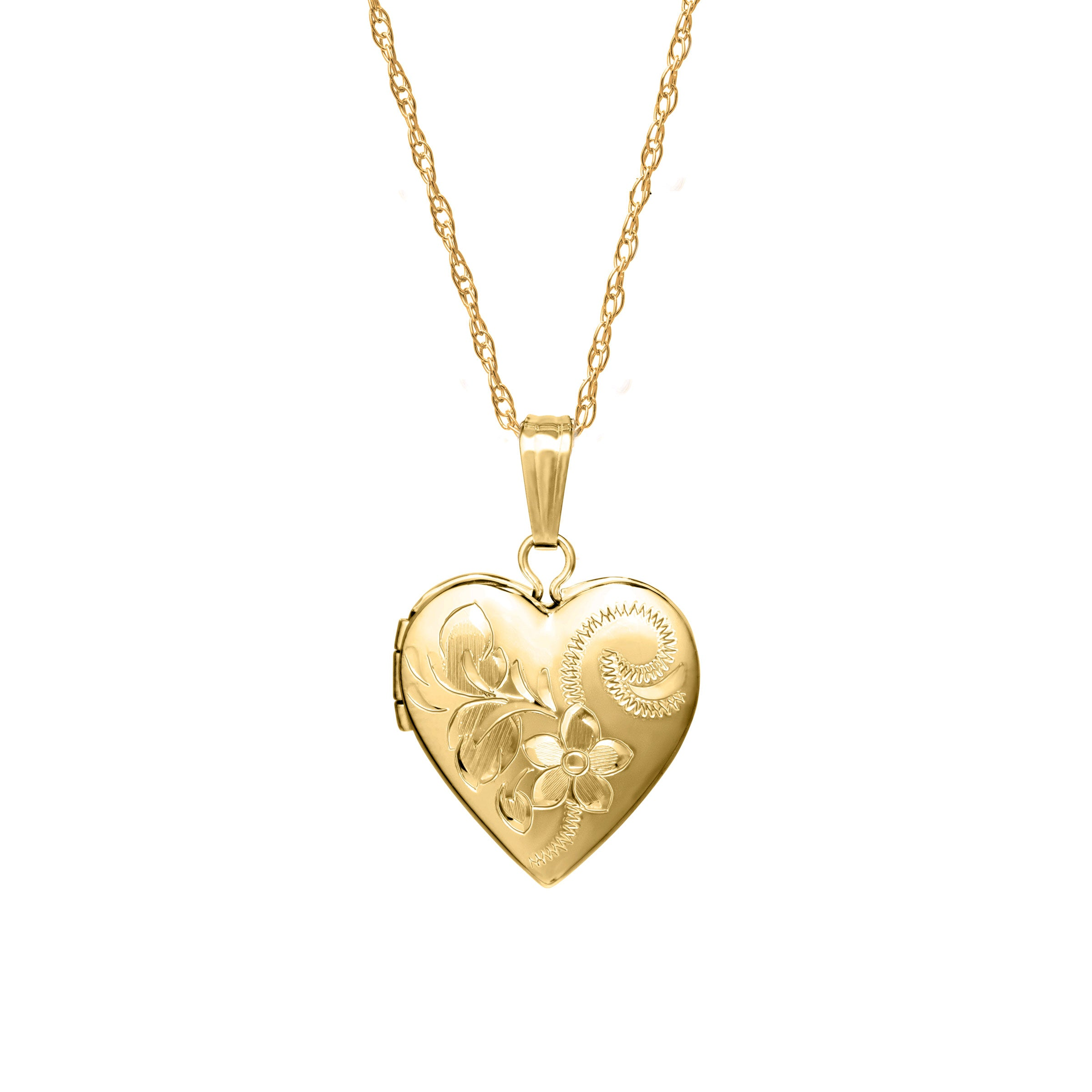14K Yellow Gold Engraved Heart Locket Charm Pendant For Necklace or Chain