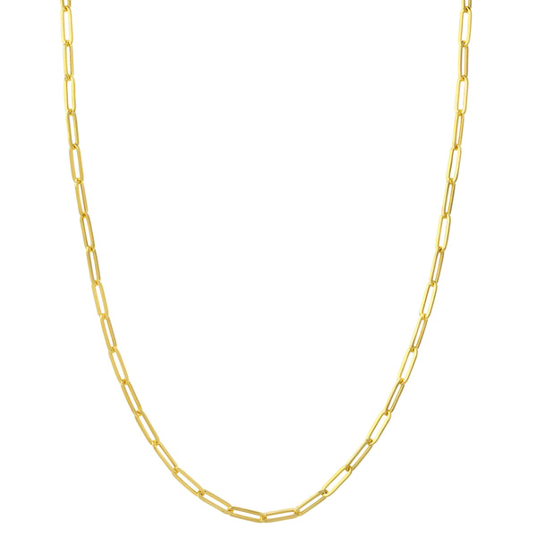 Paperclip Chain, Hollow, 18 Inches, 14K Yellow Gold