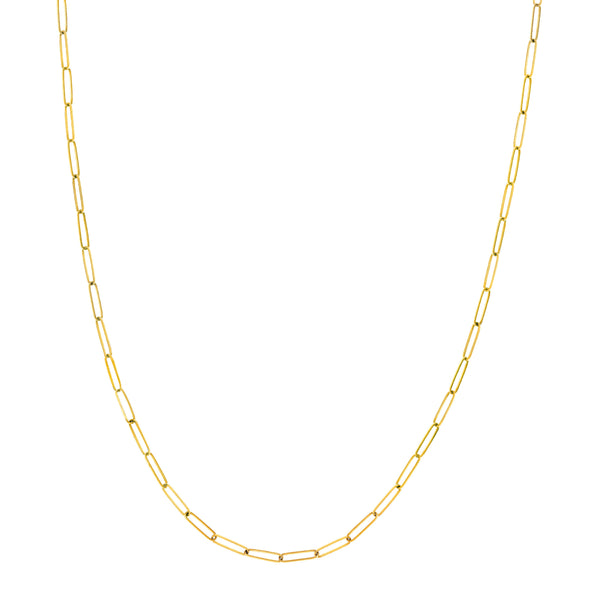 Paperclip Chain, Hollow, 24 Inches, 14K Yellow Gold