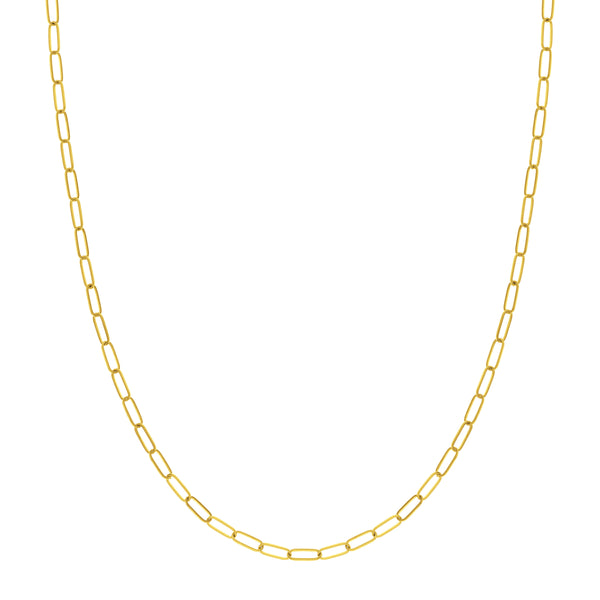 Paperclip Chain, 16 Inches, 14K Yellow Gold