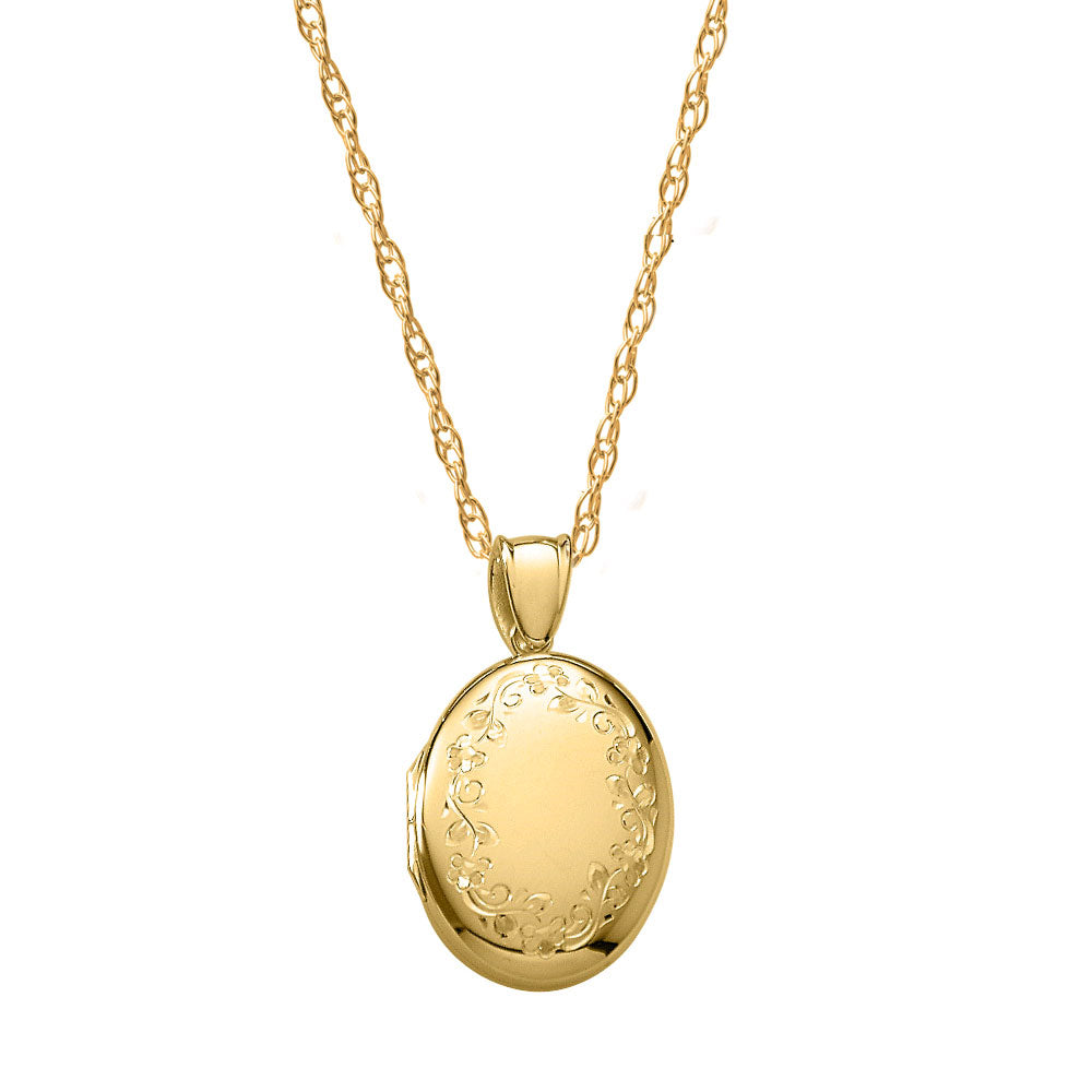 Hand Engraved Oval Locket, 14K Yellow Gold