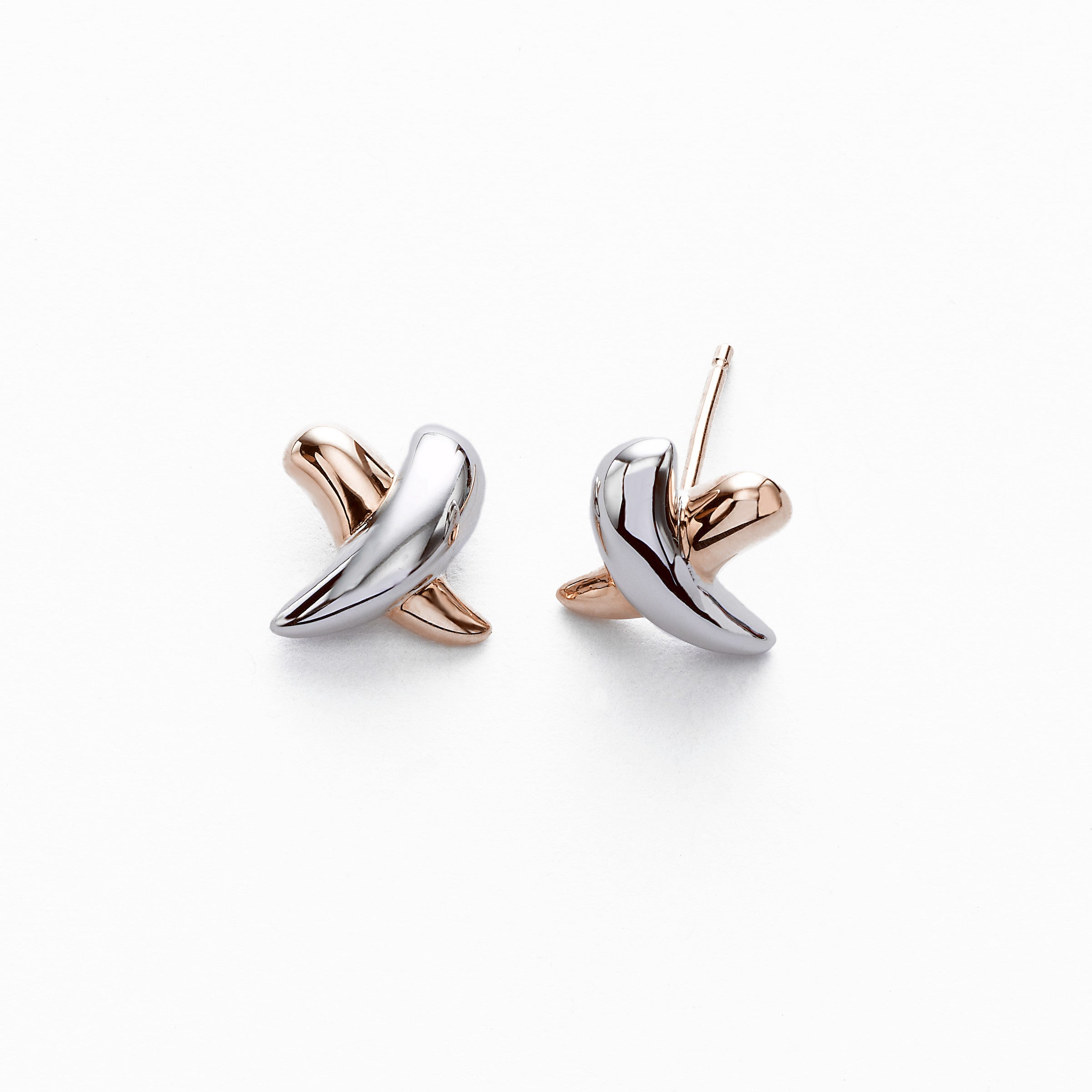 Two Tone 'X' Earrings, .40 inch, 14K Gold
