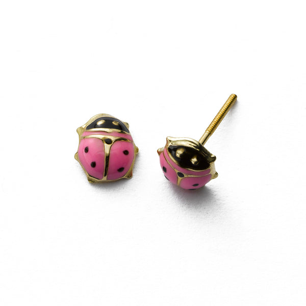 Child's Pink Ladybug Earring, 14K Yellow Gold