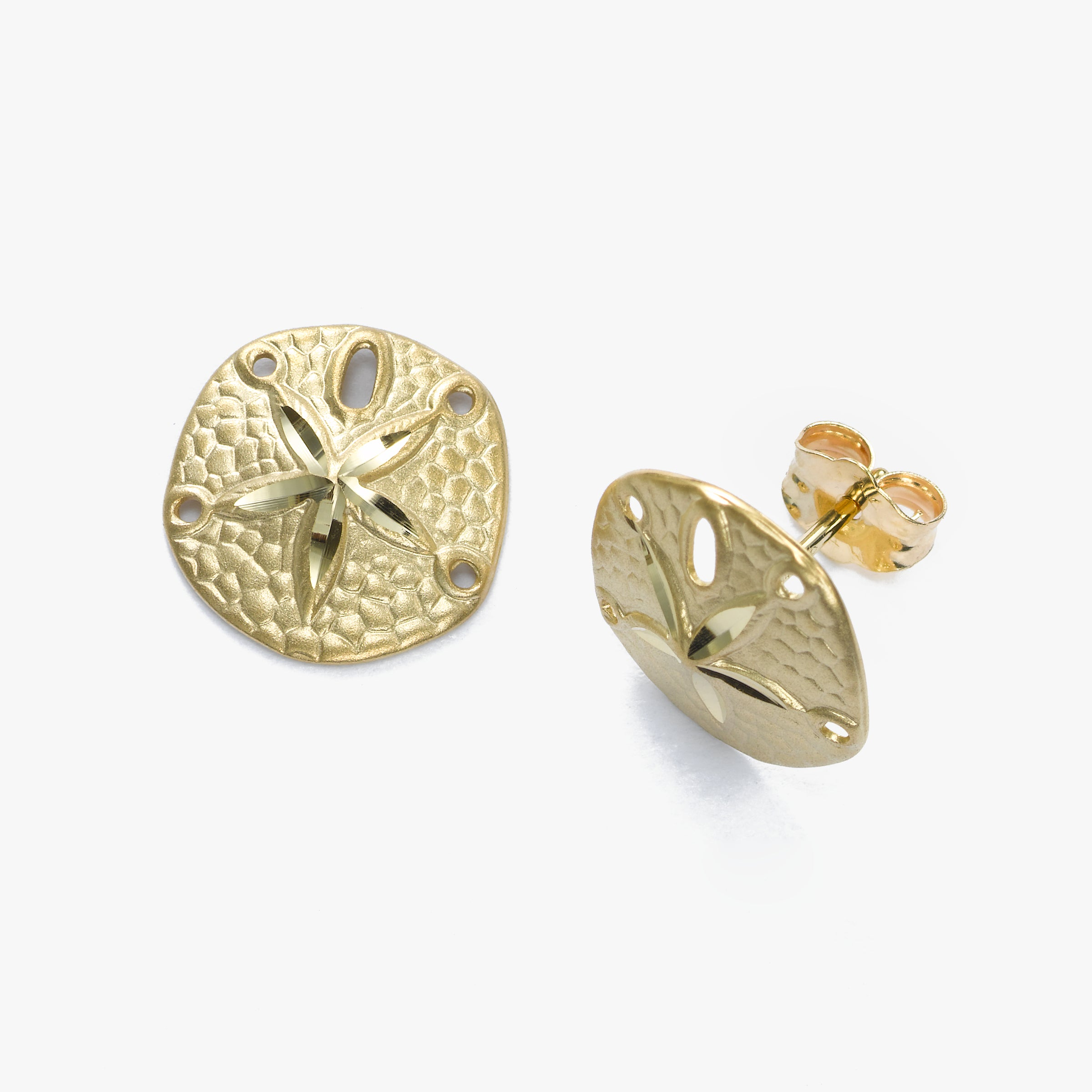 Sand Dollar Button Earrings, 14K Yellow Gold