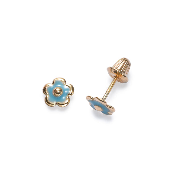 Child's Blue Enamel Flower Earrings, 14K Yellow Gold