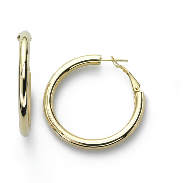 Classic Hoop Earrings, 1 Inch, 14K Yellow Gold