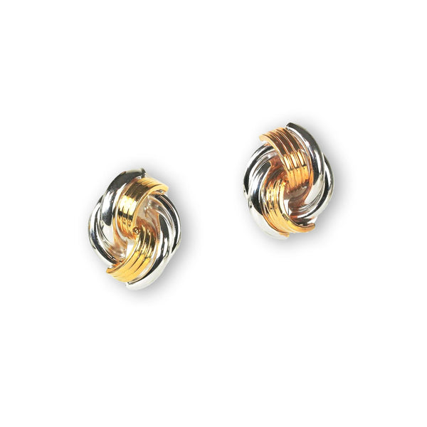 Two Tone Textured Knot Earrings, 14 Karat Gold