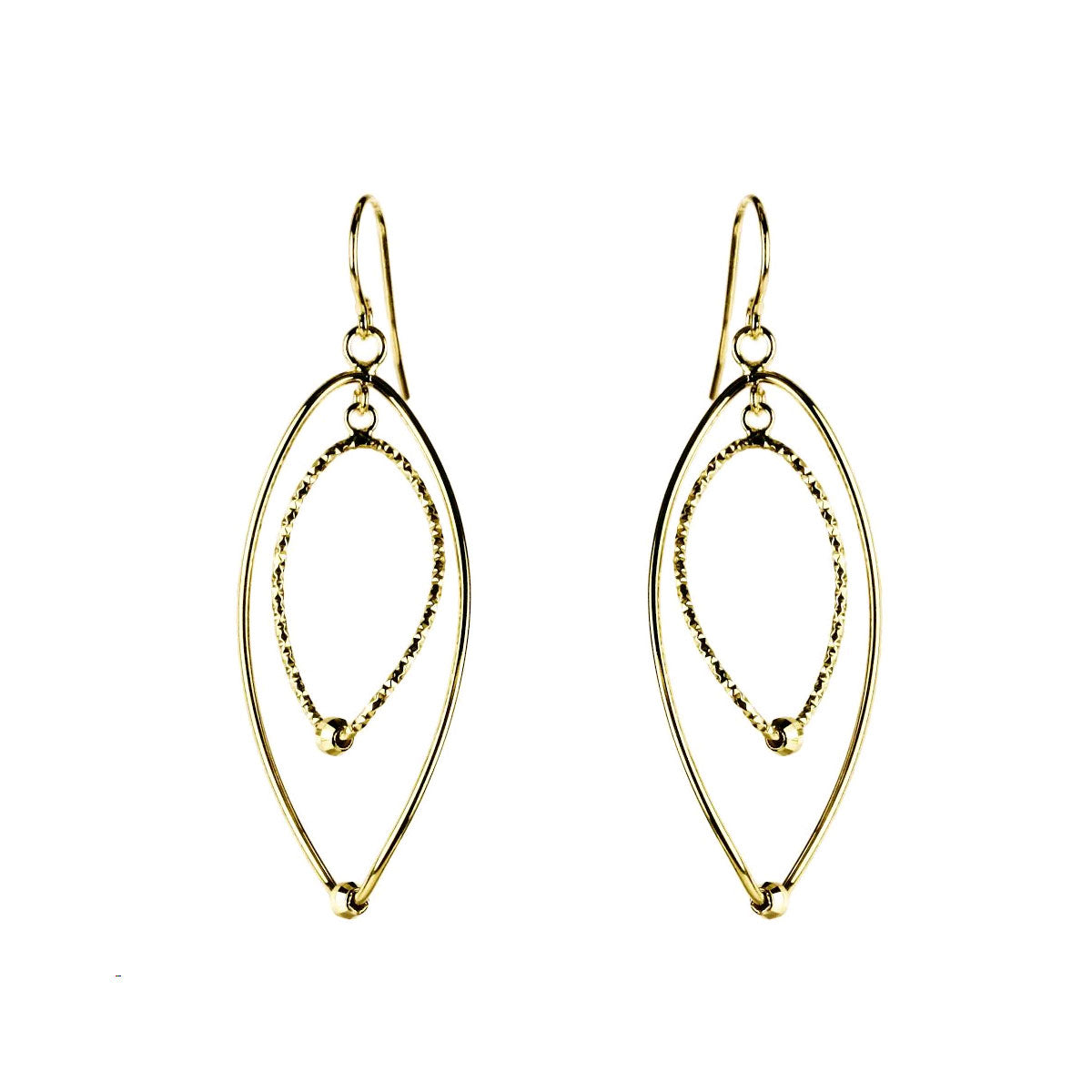 Marquise Shaped Dangle Earrings, 14K Yellow Gold