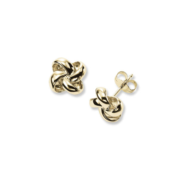 Polished Knot Stud Earrings, 14K Yellow Gold