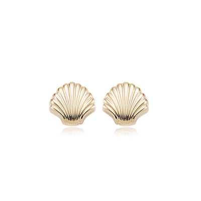 Scalloped Shell Button Earrings, 14K Yellow Gold