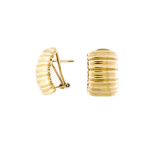 Horizontally Ribbed Button Earrings, 18K Yellow Gold