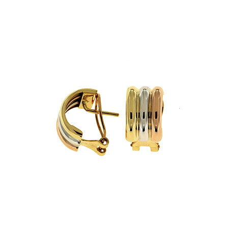 Tri-Color Ribbed Button Earrings, 18 Karat Gold