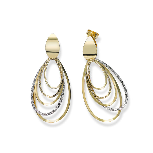 Two Tone Multi Loop Dangle Earrings, 14 Karat Gold
