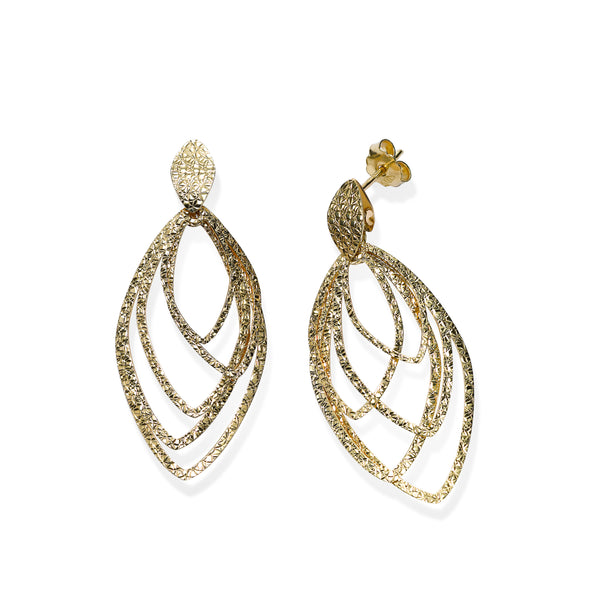 Marquise Shape Loop Dangle Earrings, 14K Yellow Gold