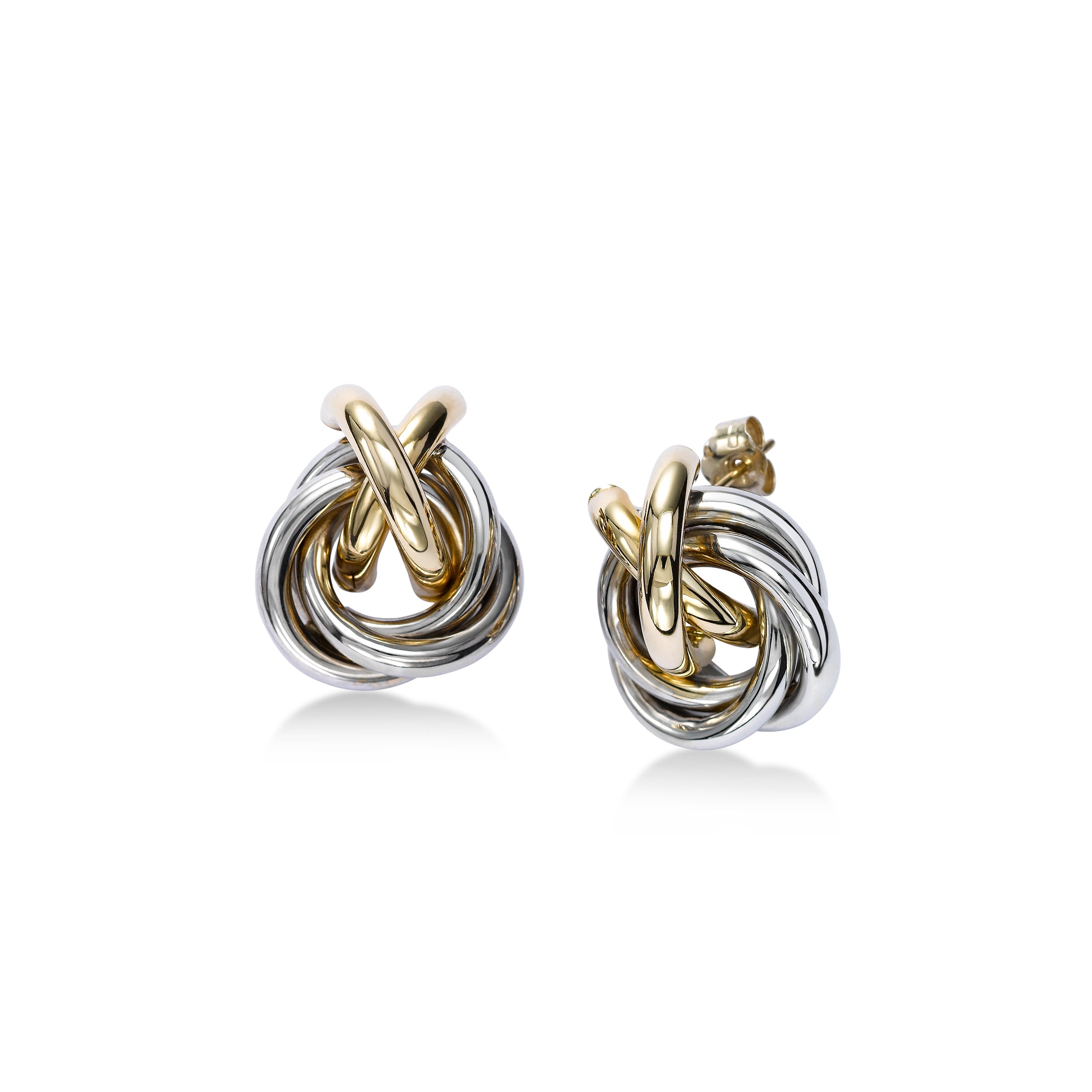 Two Tone Interlocking Circles Earrings, 14 Karat Gold