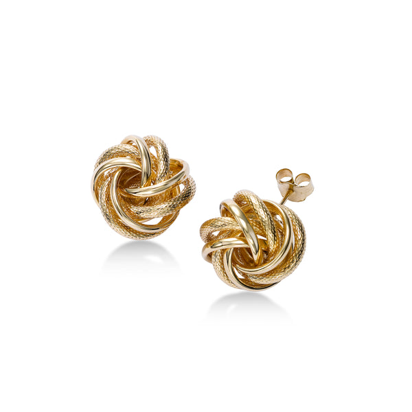 Large Polished and Textured Knot Earrings, 14K Yellow Gold
