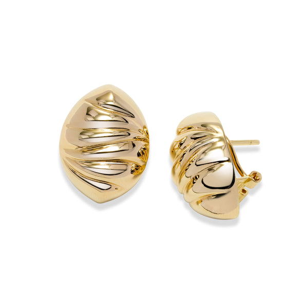 Fluted Button Clip Post Earrings, 14K Yellow Gold