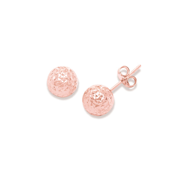 Diamond Cut Ball Earrings, 7 MM, 14K Rose Gold