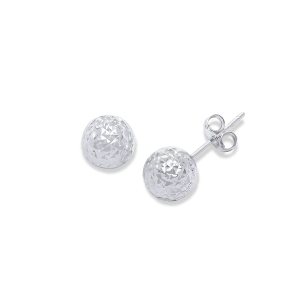 Diamond Cut Ball Earrings, 7 MM, 14K White Gold