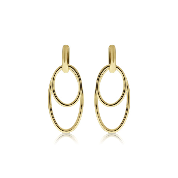Double Oval Loop Dangle Earrings, 14K Yellow Gold