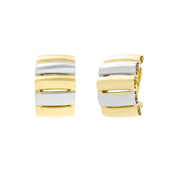 Alternating Color Button Earrings, 18 Karat Gold