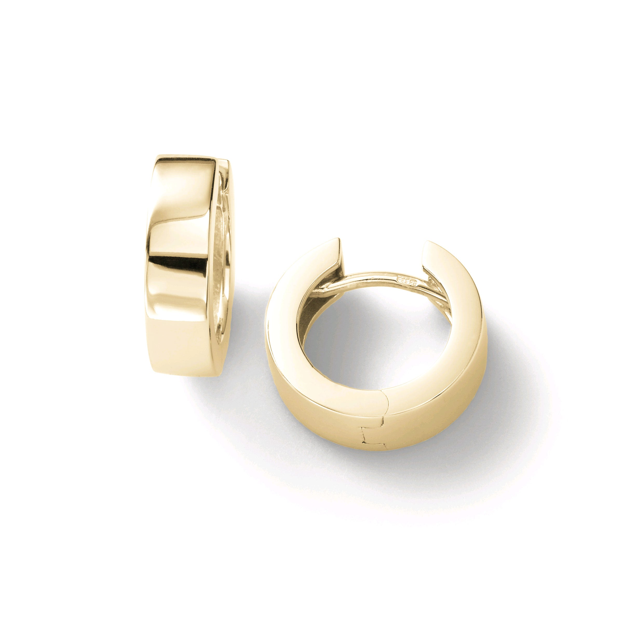 High Polish Huggie Hoop Earrings, 14K Yellow Gold