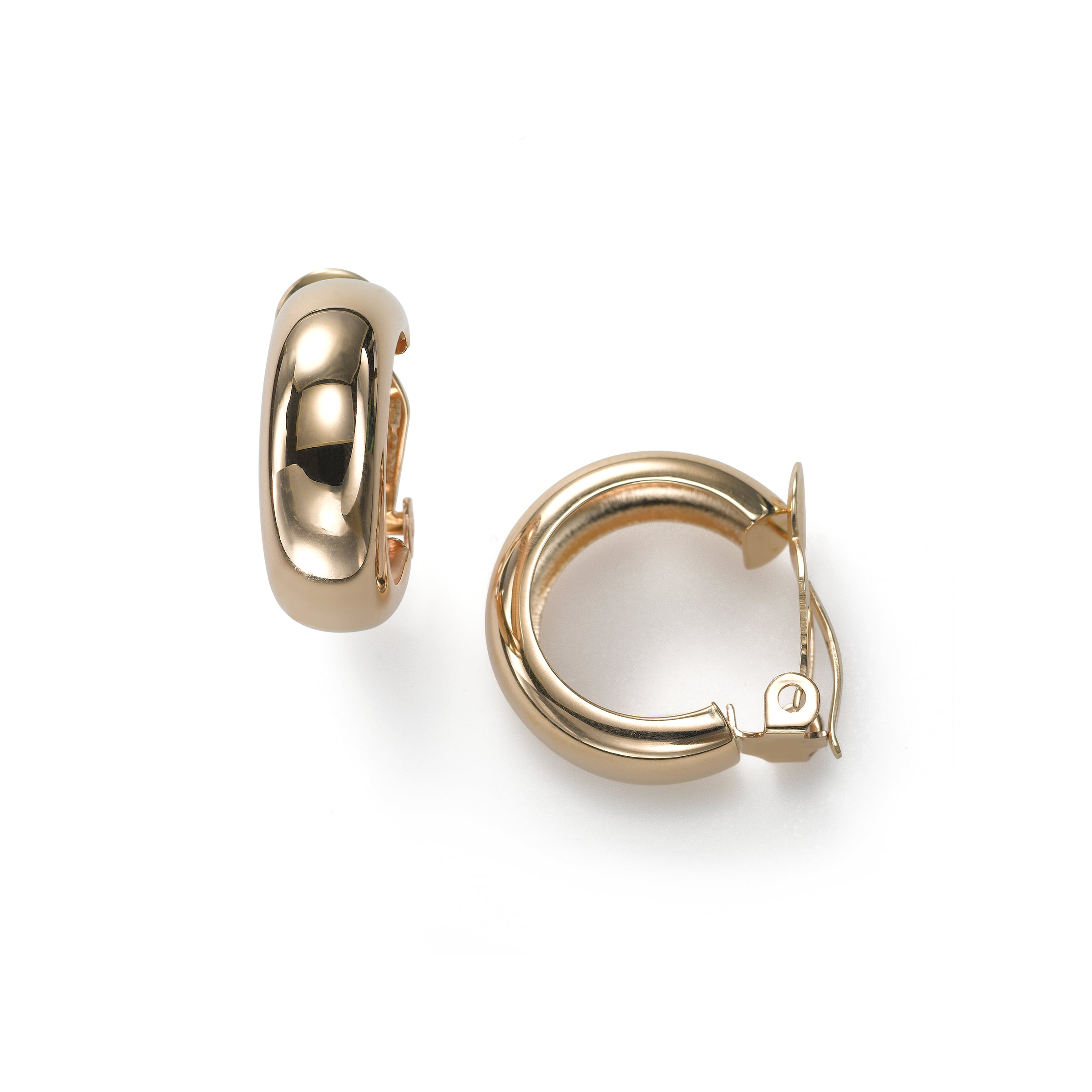 Puffy Rounded Hoop Earrings, Non-Pierced Clip, 14K Yellow Gold