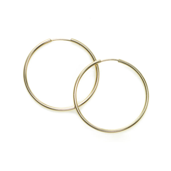 Medium Endless Hoop Earrings, 1.20 Inches, 14K Yellow Gold
