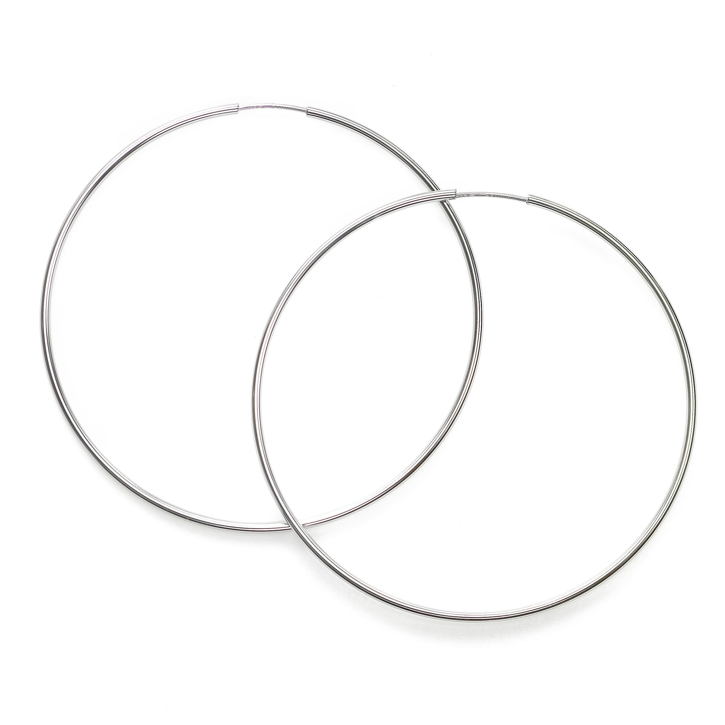 Large Endless Hoop Earrings, 2.40 Inches, 14K White Gold