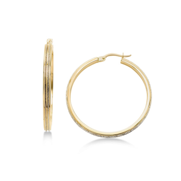 Two Tone Textured Hoop Earrings, 1.25 Inches, 14K Yellow Gold