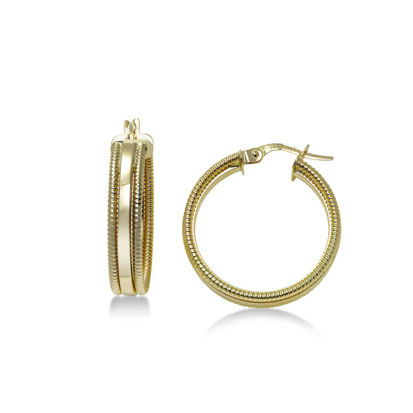 Ribbed Edged Hoop Earrings, .80 Inch, 14K Yellow Gold