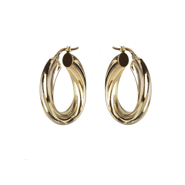 Twist Design Oval Hoop Earrings, 14K Yellow Gold