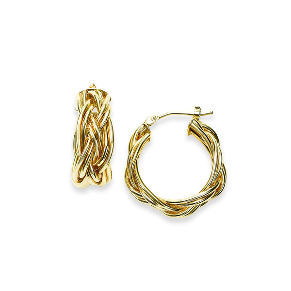 Braided Hoop Earrings, .75 Inch, 14K Yellow Gold
