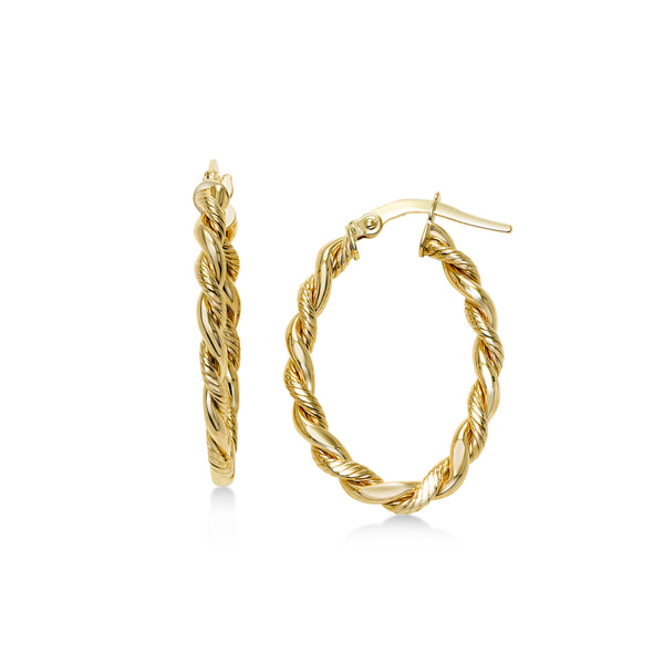 Oval Twisted Hoop Earrings, 14K Yellow Gold