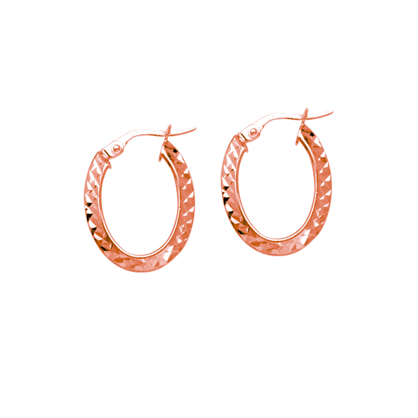 Oval Diamond Cut Hoop Earrings, 14K Rose Gold