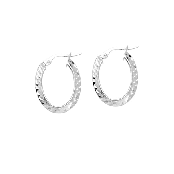 Oval Diamond Cut Hoop Earrings, 14K White Gold