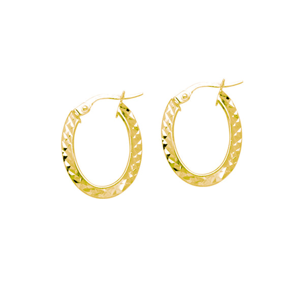 Oval Diamond Cut Hoop Earrings, 14K Yellow Gold