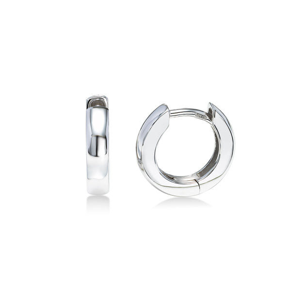 High Polish Petite Huggie Hoop Earrings,  14K White Gold