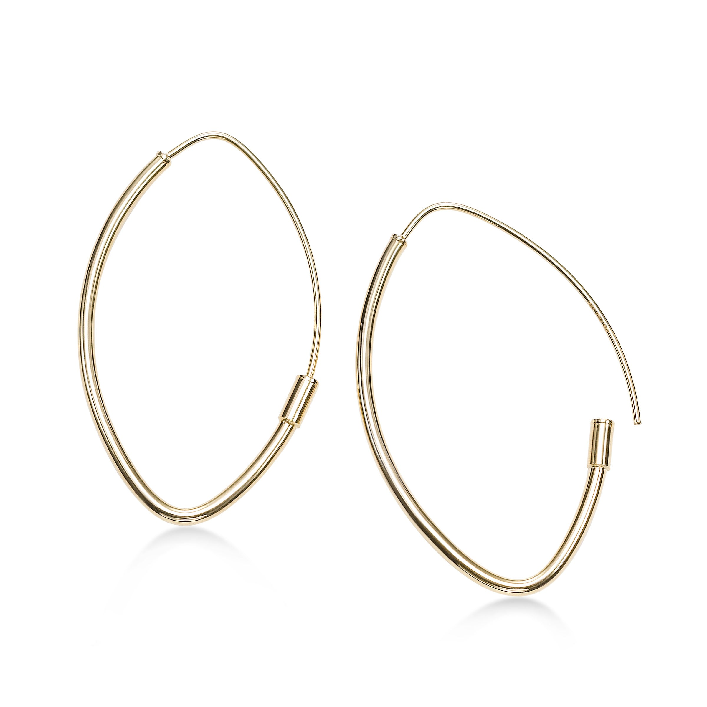 Thin Marquise Shape Hoop Earrings, 14K Yellow Gold