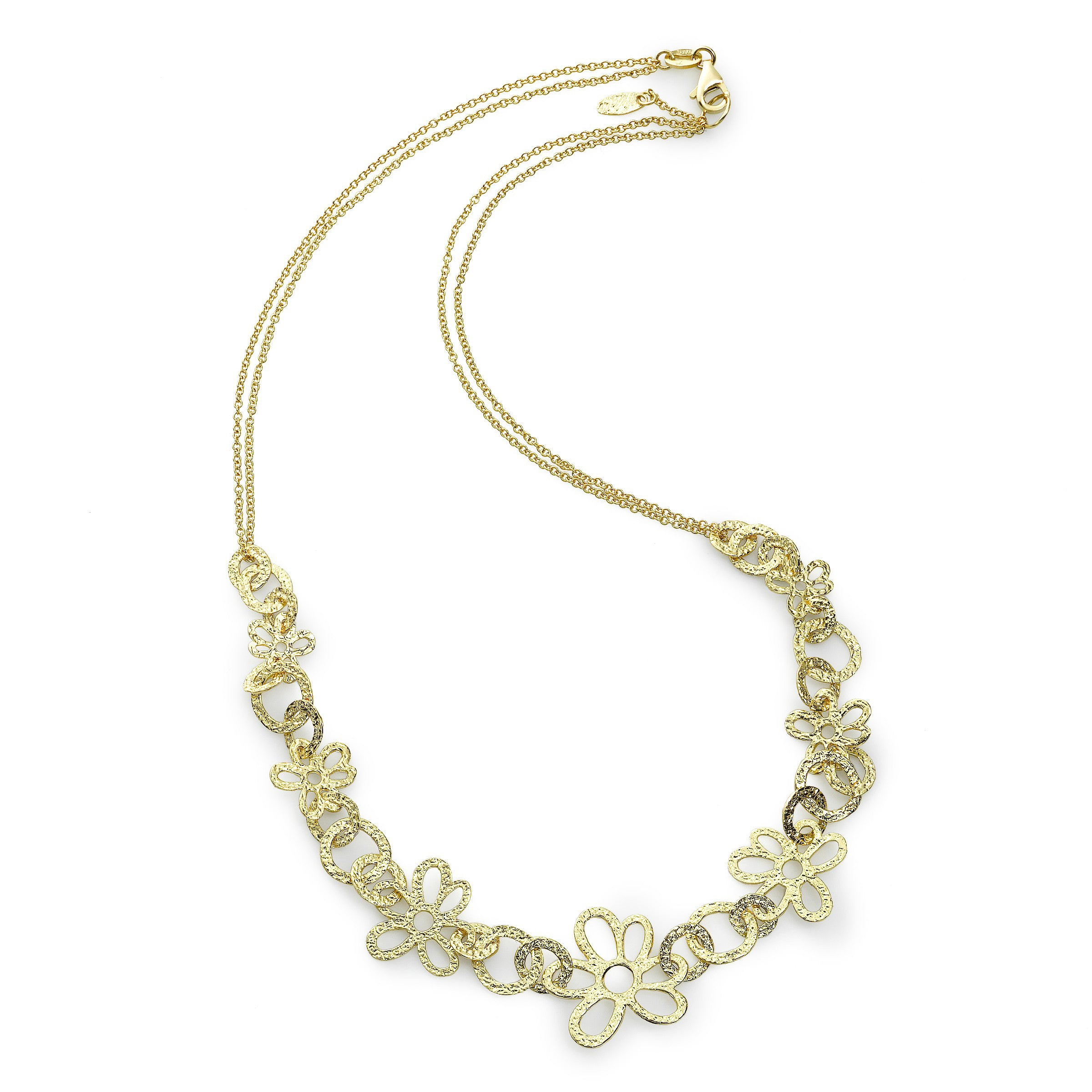 Open Flower Design Necklace, 16 Inches, 14K Yellow Gold