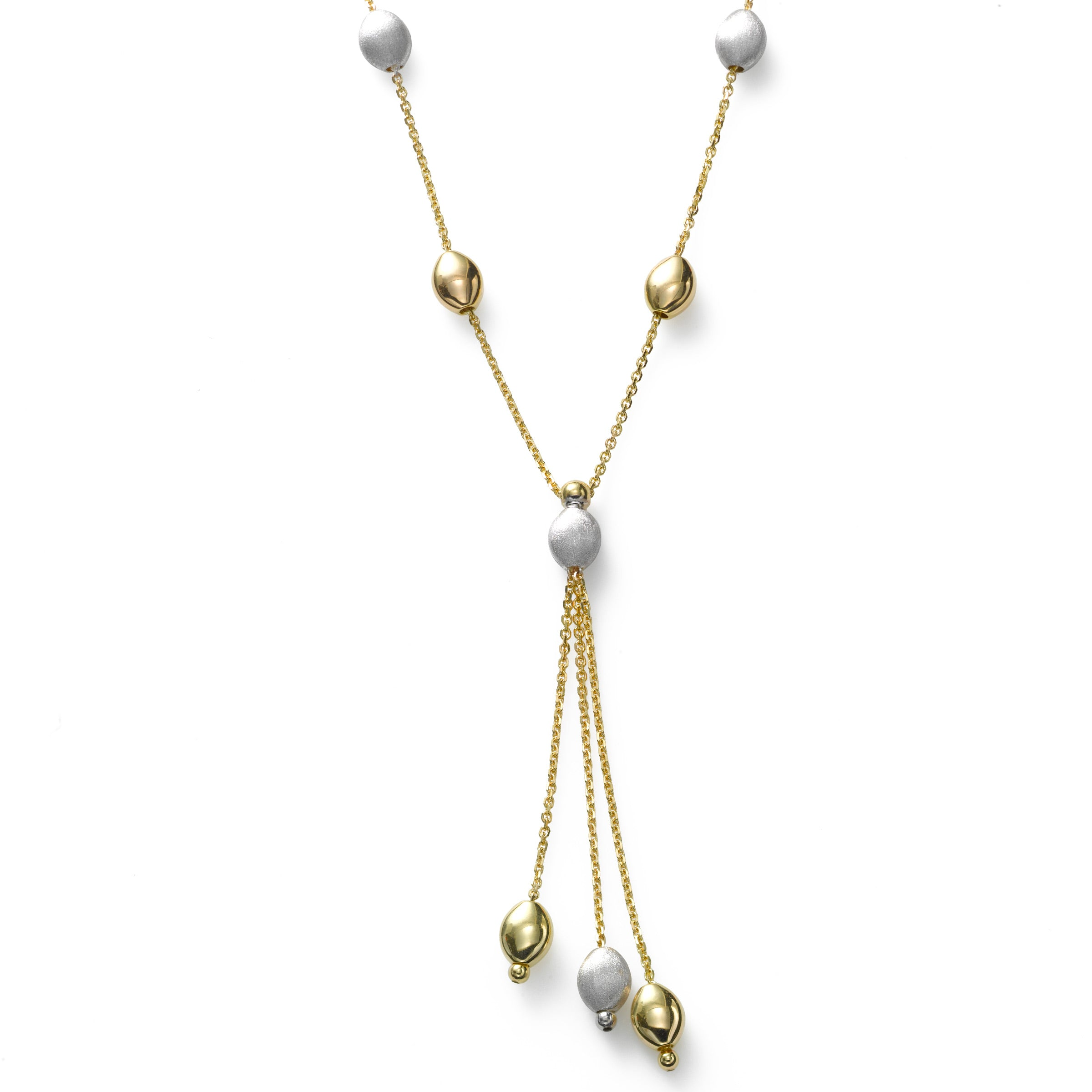 Tricolor Pebble Tassel Necklace, 14K Yellow Gold