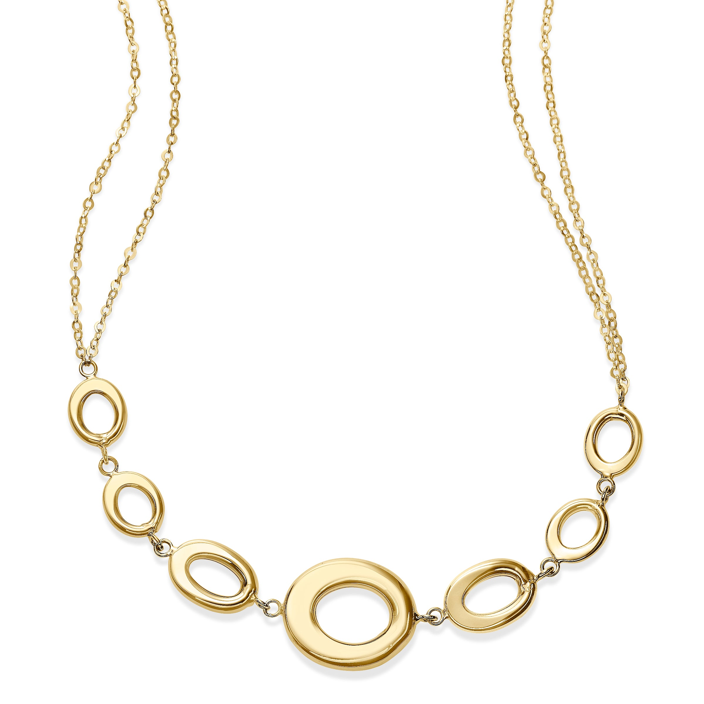Oval Loops Gold Necklace, 14K Yellow Gold