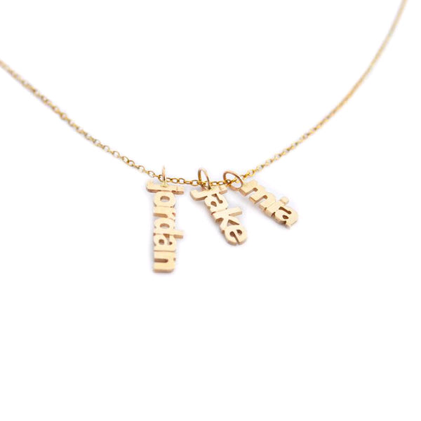 Vertically Suspended Custom Name Necklace, Vermeil