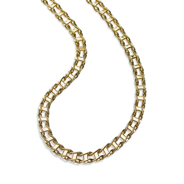 Railroad Track Style Necklace, 20 Inches, 14K Yellow Gold