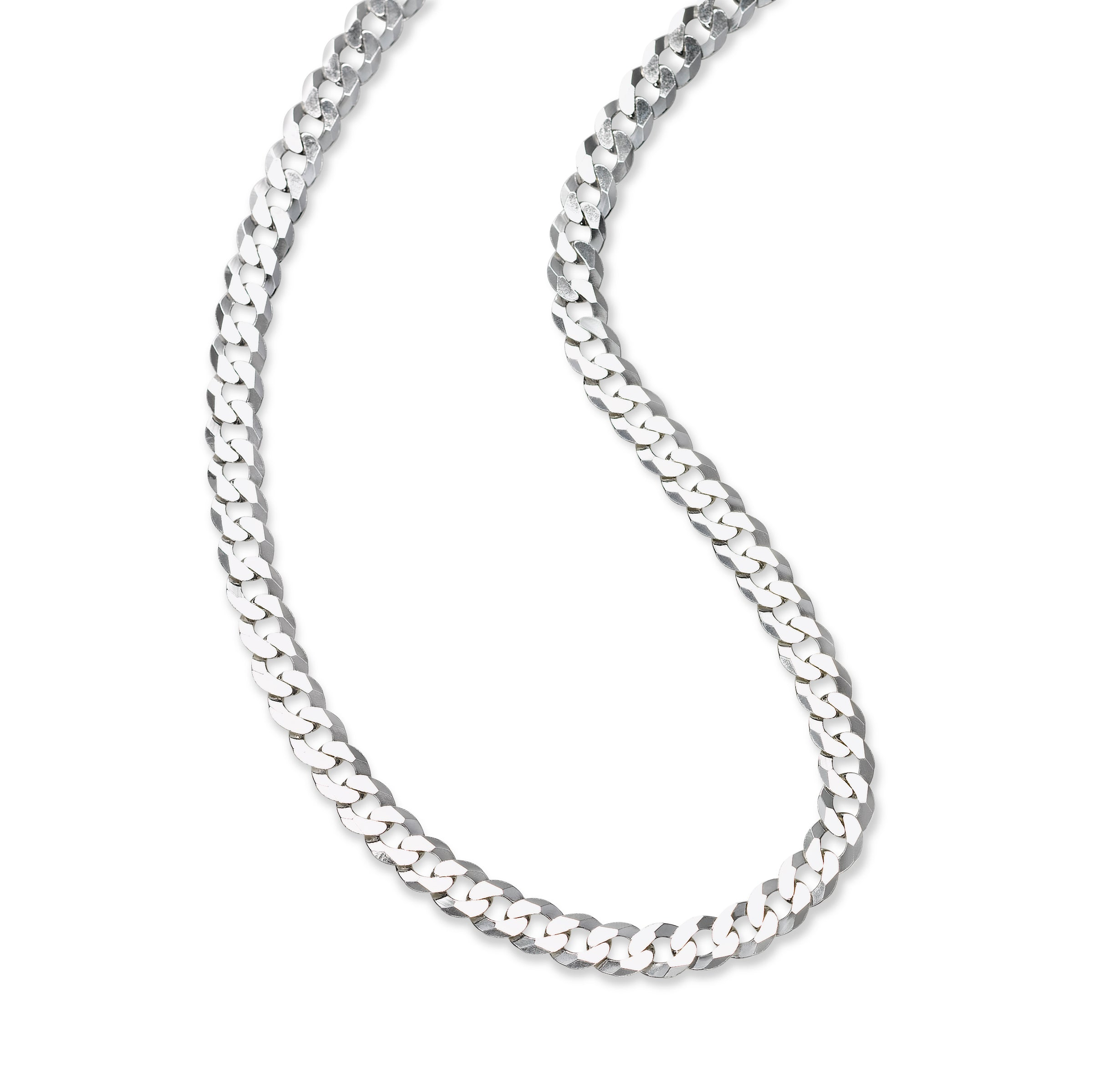 a296e6c92e338 Flat Curb Chain Necklace, 22 Inches, Sterling Silver