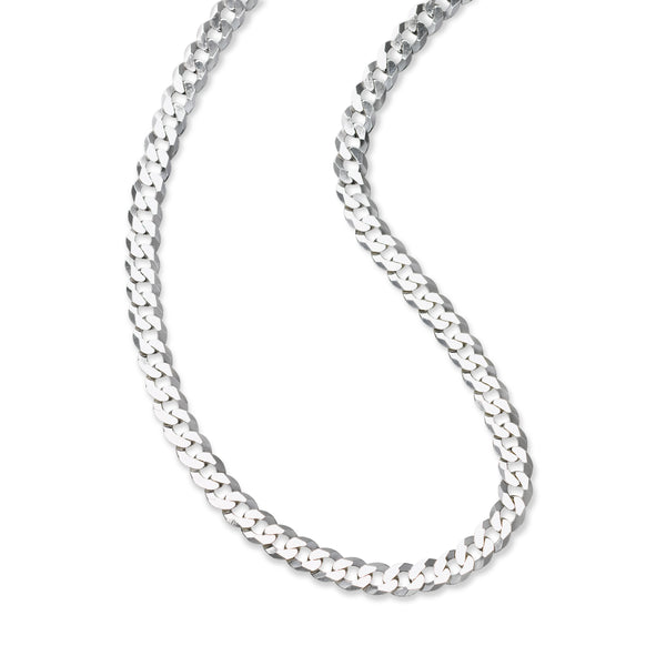 Flat Curb Chain Necklace, 22 Inches, Sterling Silver
