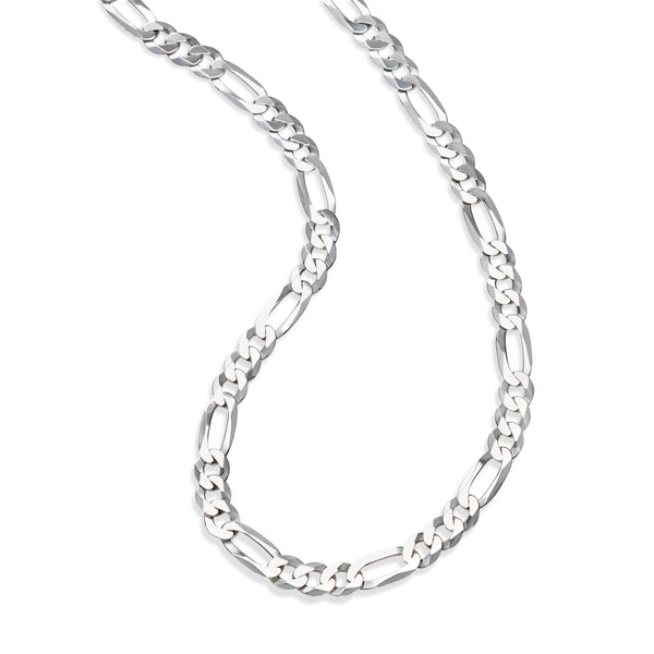 Flat Figaro Link Necklace, 22 Inches, Sterling Silver