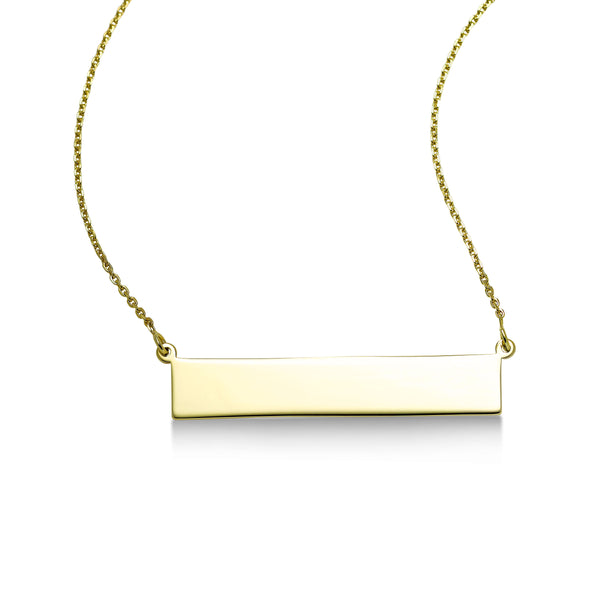 Engravable Bar Necklace, 14K Yellow Gold