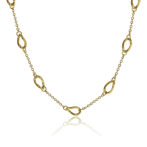 Alternating Link and Chain Necklace, 14K Yellow Gold