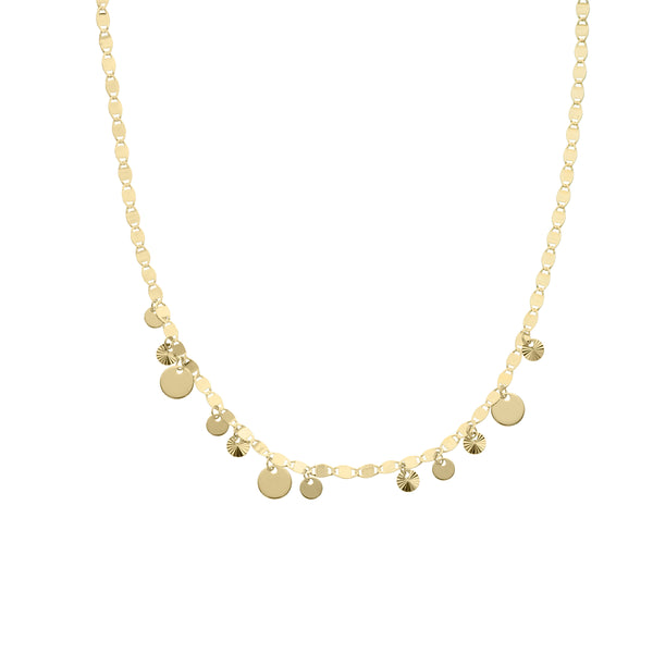 Multi-Sized Dangling Discs Necklace, 17 Inches, 14K Yellow Gold